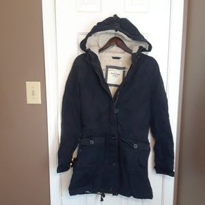 abercrombie and fitch jacket womens parka navy blu